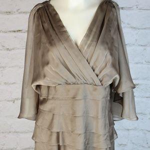 London Times • Brown V-Neck Ruffled Sheath Dress